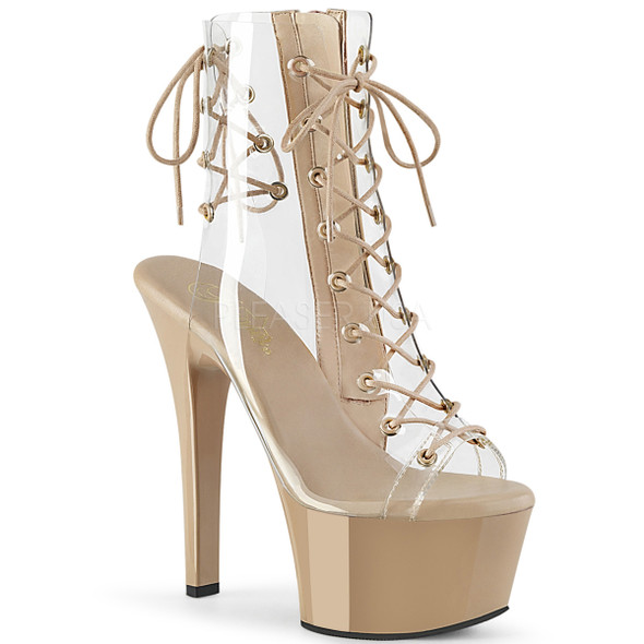 Stripper Shoes | Aspire-600-30, 6 Inch Clear Ankle Boots with Lace up