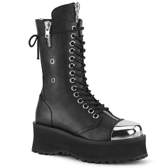 Gravedigger-14, Men's Mid-Calf Boots with Metal Toe Plate color Black Vegan Leather