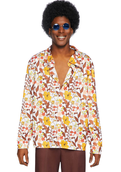 Leg Avenue LA-86846, Men's 70s Floral Shirt Front View