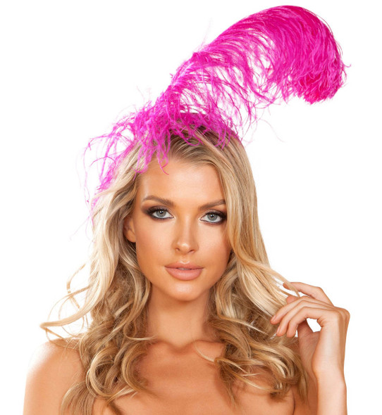 R-4953, Hot Pink Feather Headband