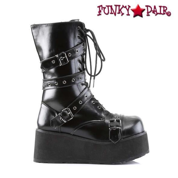 Demonia TRASHVILLE-205, Platform Goth Punk Calf Boot with Wrap Around Strap