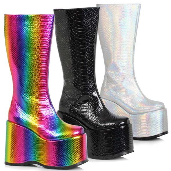 Ellie Shoes   500-AMARA, Wedge Platform GoGo Boots