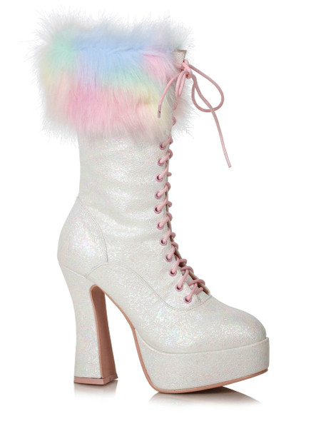 557-Nora, White Ankle Boots with Faux Fur by Ellie Shoes