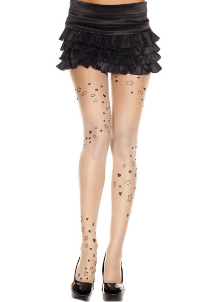 Heart and Star Print Pantyhose by Music Legs | ML-7202