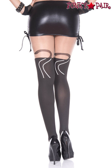 Music Legs | ML-7144, Cat Print Pantyhose back view