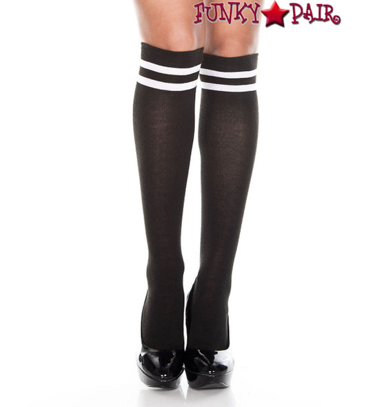Music legs ML-5652, Knee High with Double Striped Top