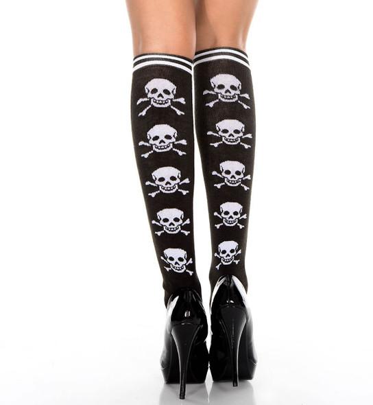 Cross Bone Print Knee High by Music Legs ML-5712