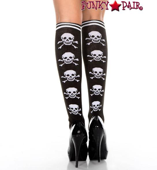 Music Legs ML-5712, Cross Bone Print Knee High