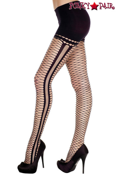 Music Legs | ML-7193, Mini Diamond Net Oval Cutout Pantyhose