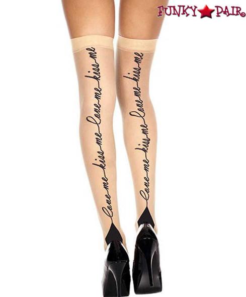 Music Legs   ML-4260, Love Me, Kiss Me Print Stockings