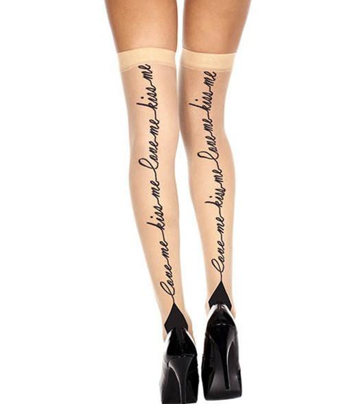 Love Me, Kiss Me Print Stockings by Music Legs ML-4260