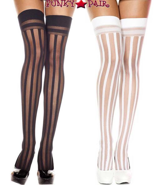 Music Legs   ML-4756, Vertical Striped Thigh High Stocking