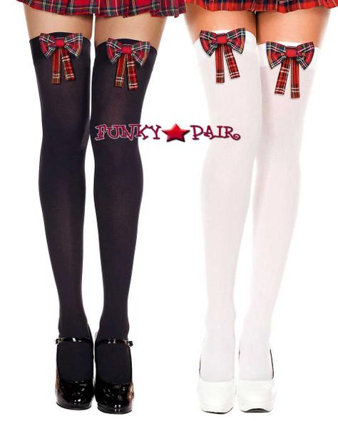 Music Legs | ML-4654, Plaid Bow Stocking