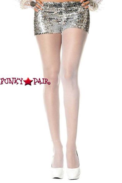 Rhinestones Anklet White Pantyhose by Music Legs ML-875