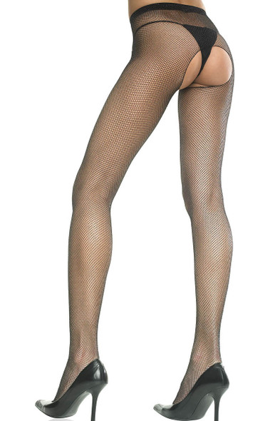 Crotchless Fishnet Pantyhose by Music Legs ML-901