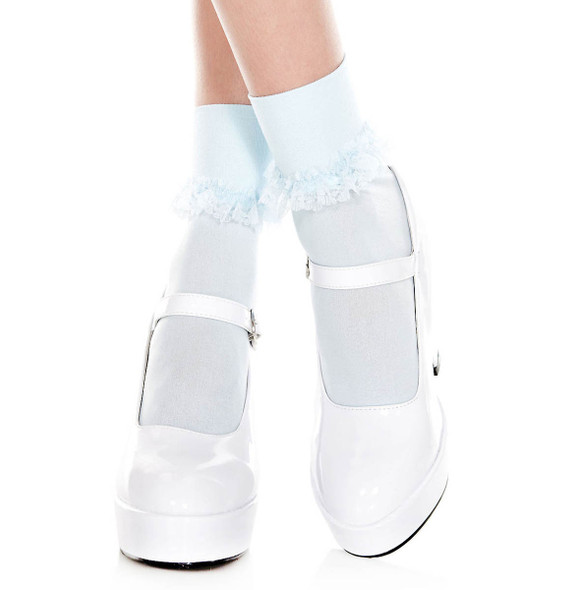 ML-513, Opaque Ankle High with Ruffle Trim by Mucis Legs color baby Blue