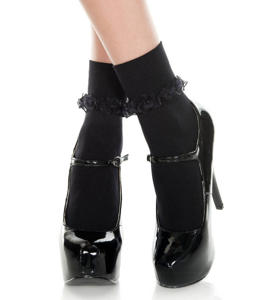 Music Legs | Black Ankle High with Ruffle Trim, ML-514