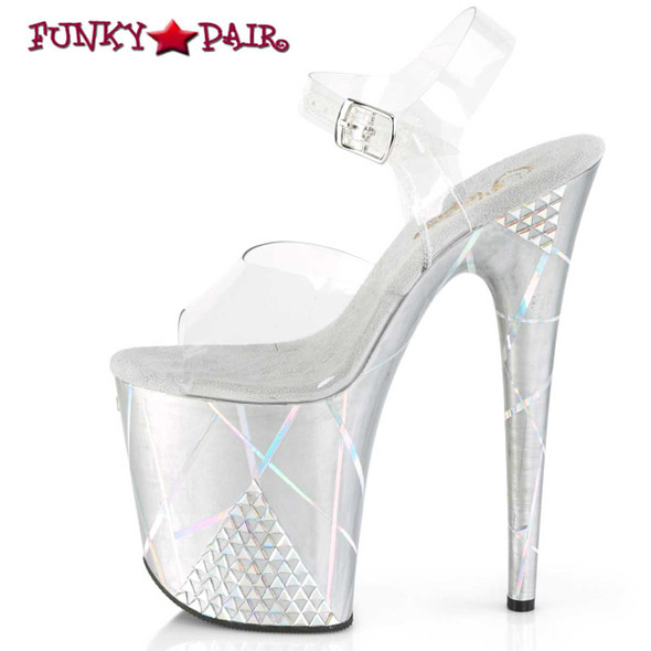 Pleaser | Flamingo-808SHAPE-1, 8 Inch Holographic Lines and Rhinestones