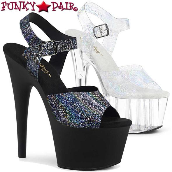 Pleaser | Adore-708N-MG, Silver Hologram Platform Sandal