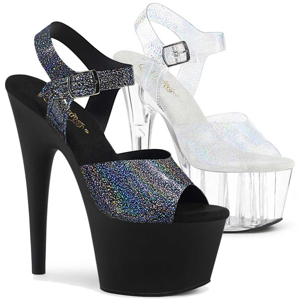 Adore-708N-MG, Silver Hologram Platform Sandal by Pleaser Shoes