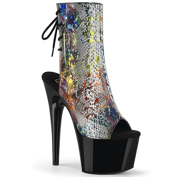 Adore-1018SP, Snake Print Ankle Boots with Cutout by Pleaser Shoes