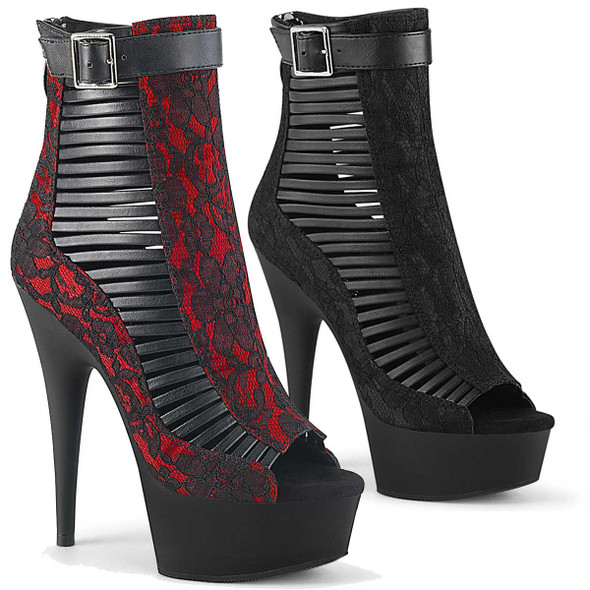 Pleaser | Delight-600-27LC, 6 Inch Strappy Ankle Boots