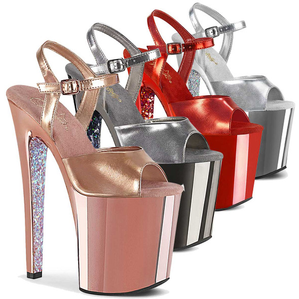 "Pleaser | Xtreme-809TTG, 8"" Chrome Platform Sandal with Glitters"