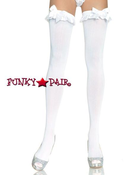 White Opaque Stockings trim and Bow | Leg Avenue (6010)