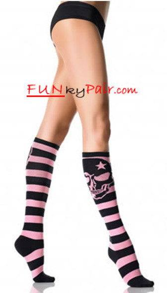 5573, Striped Woven Skull Knee Highs