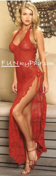 Leg Avenue | LA-88009, Rose Lace long dress color Red Funkypair