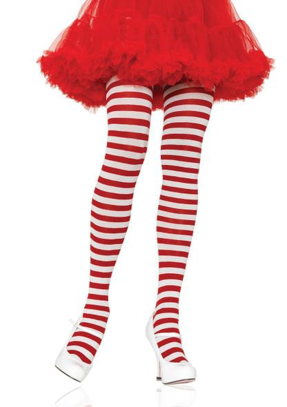 Plus size Nylon Red/White Striped Pantyhose by Leg Avenue 7100Q