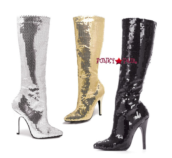 """Ellie Shoes   511-Tin 5"""" Sequins Knee High Boot"""