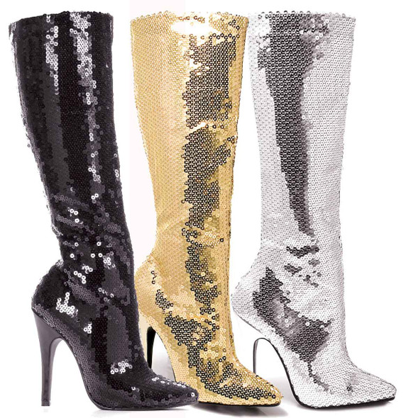 """5"""" Sequins Knee High Boot Ellie Shoes   511-Tin"""