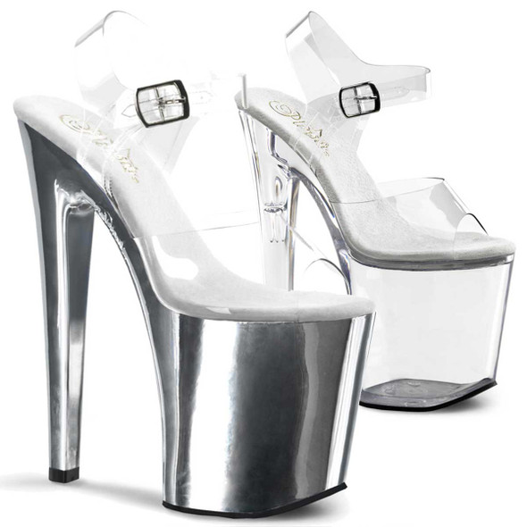 8 Inch Clear Strap Sandal Shoes Pleaser | XTREME-808