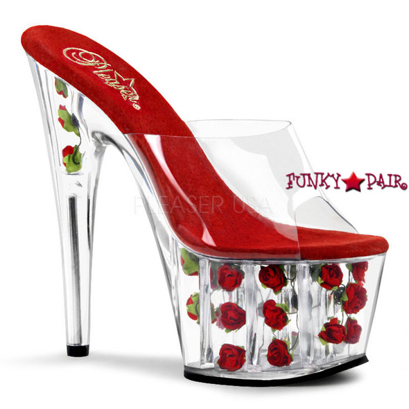 ADORE-701FL,  7 Inch Stiletto Heel Slide with Red Flowers