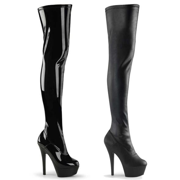 Pleaser   KISS-3000, 6 Inch Heel Stretch Thigh high boots