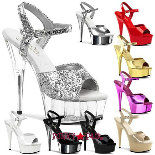 Stripper Shoes DELIGHT-609, 6 Inch Stiletto Heel Ankle Strap Platform Shoes