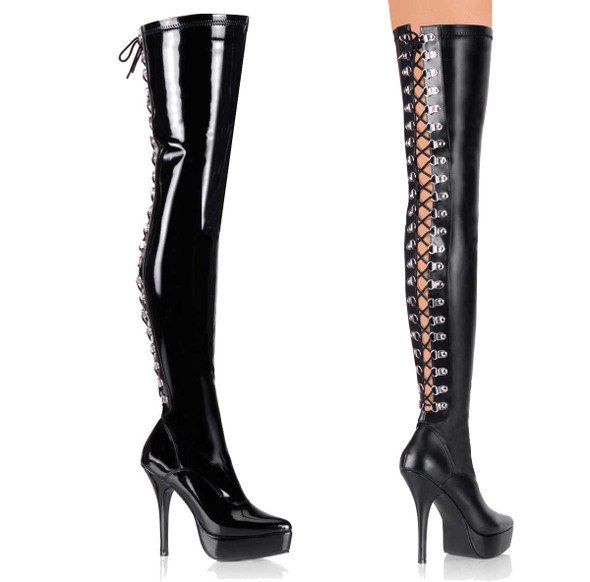 INDULGE-3063, Back Lace Up Stretch Thigh Boot by Devious
