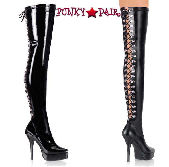 Devious | INDULGE-3063, Thigh High Boots D-Rings Back Lace up