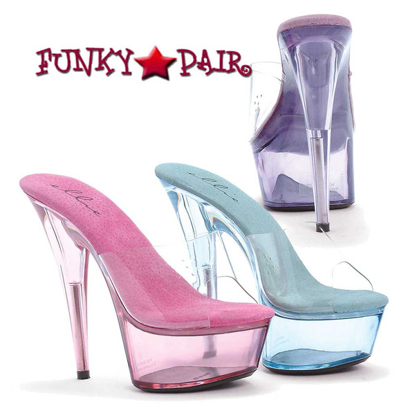 609-Summer, 6 Inch High Heel with 1.75 Inch Platform Clear Stiletto Heel Sandal Made by ELLIE Shoes