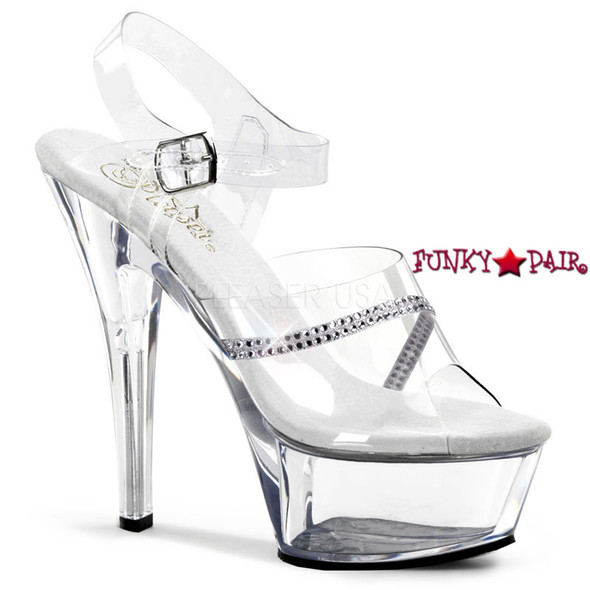 KISS-208R, 6 Inch Heel Ankle Strap with Rhinestones