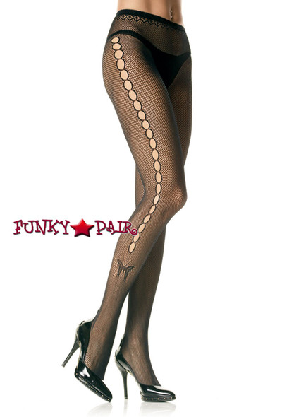 Black Fishnet PantyHose with butterfly |Leg Avenue 9710
