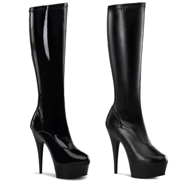 """DELIGHT-2000 6"""" Heel Platform Stretch Knee High Boots by Pleaser USA"""