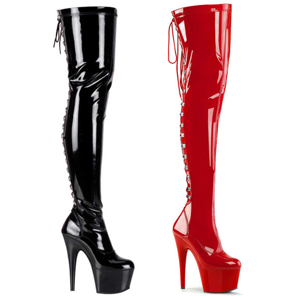 ADORE-3063, Thigh High Boots with Rear Lace Up by Pleaser