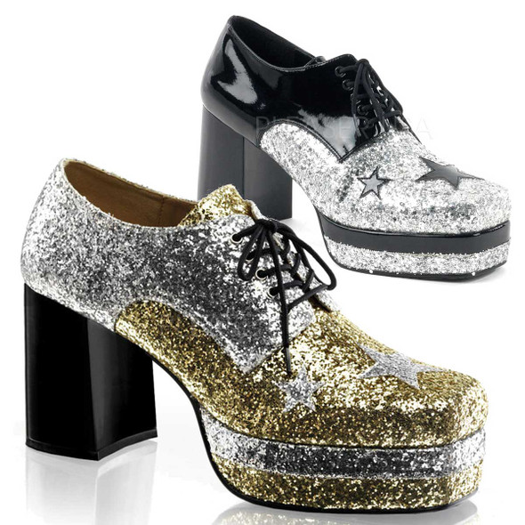 Funtasma GLAMROCK-02, Men Glitter with Stars Disco Platform Shoe