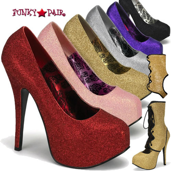 Teeze-31G, 5.75 Inch High Heel Detachable Shaft Glitter Pump