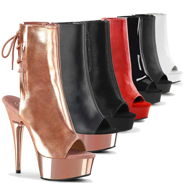 "Pleaser | Delight-1018, 6"" Heel Stripper Ankle Boots"