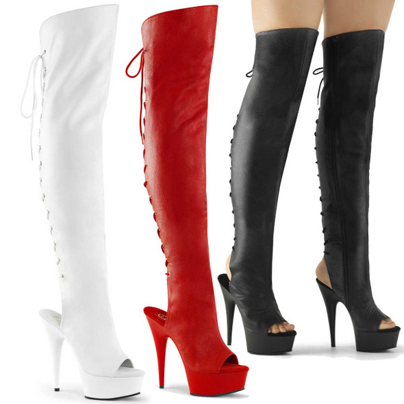 "Delight-3019, 6"" Stripper Open Toe/Heel Lace-Up Back Thigh High Boot by Pleaser"