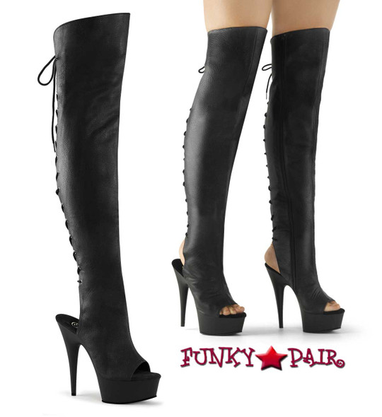 "Pleaser Delight-3019, Exotic Dancer 6"" Open Toe/Heel Lace-Up Back Thigh High Boot"