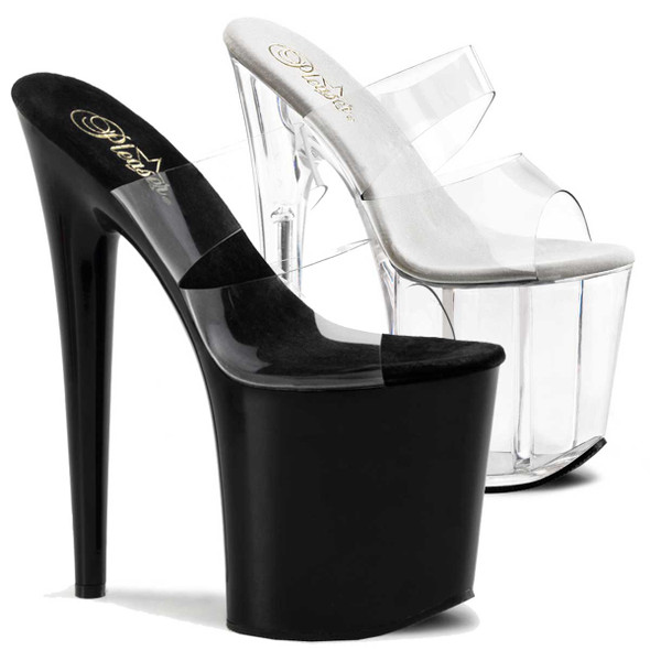 "Flamingo-802, 8"" Stripper Shoes Platform Slide with Double Band by Pleaser"